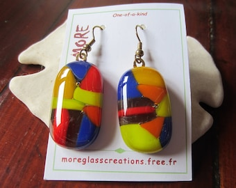 Tonics multicolor red, orange, yellow and blue fused glass earrings