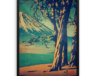 "Vintage Japanese Ukiyo-e Framed Art Print signed Landscape Poster by Kijiermono ""Late Hues at Hinsei"" Wall Home Decor"
