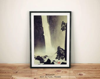 "Vintage Japanese Ukiyo-e Framed Art Print signed Landscape Poster by Kijiermono ""Morning in Ueno"" Wall Home Decor"