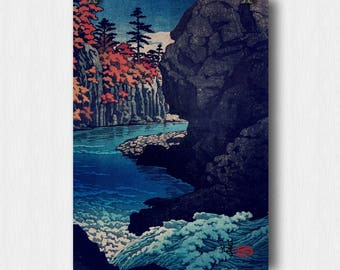 "Vintage Japanese Ukiyo-e Art Print signed Landscape Poster by Kijiermono ""Hunker Down at Risna"" Wall Home Decor"