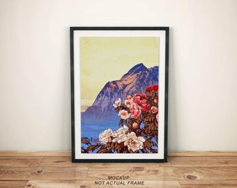 "Vintage Japanese Ukiyo-e Framed Art Print signed Landscape Poster by Kijiermono ""Kanata Scents"" Wall Home Decor"