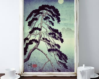 "Vintage Japanese Ukiyo-e Framed Art Print signed Landscape Poster by Kijiermono ""At the Moon in Zensein"" Wall Home Decor"