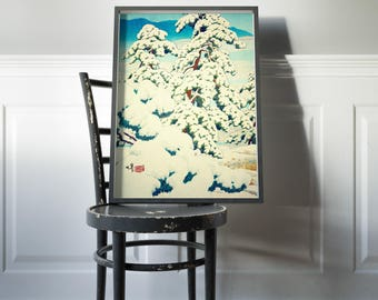 "Vintage Japanese Ukiyo-e Framed Art Print signed Landscape Poster by Kijiermono ""A Morning in the Snow"" Wall Home Decor"