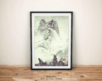 "Vintage Japanese Ukiyo-e Framed Art Print signed Landscape Poster by Kijiermono ""Looking back at Denjiro"" Wall Home Decor"