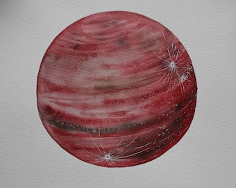 Original Painting Red Moon | Planet | Watercolor painting Red Moon