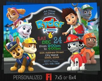 Paw Patrol Invitation Birthday Party Personalized Dogs Invite Rocky Everest Digital File
