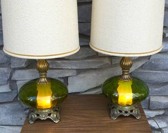 d1a47cda5f40  Do Not Buy! - PAIR - Mid Century - Green Optical Glass - Hollywood Regency  Style - Italian Blown Glass Table Lamps