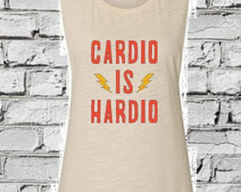 755542343c70c8 Cardio is Hardio Womens gym tank hate cardio fitness tank weight  lifting funny workout shirt ladies gym clothes muscle t crop top racerback