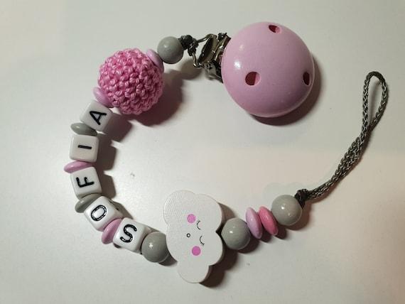 Schnullerkette mit Namen Mädchen ☆ kleine SCHWESTER ☆ rosa pink grau ☆ Baby