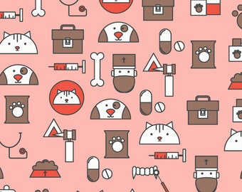 Veterinarians Veterinary Assistant Dogs Puppies Cats Kitten Polyester Spandex Fabric By The Yard