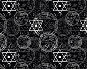 Wizard Magic Symbols SunRise Sun Set Magic Circle Printed Polyester Poly-Spandex Fabric By The Yard
