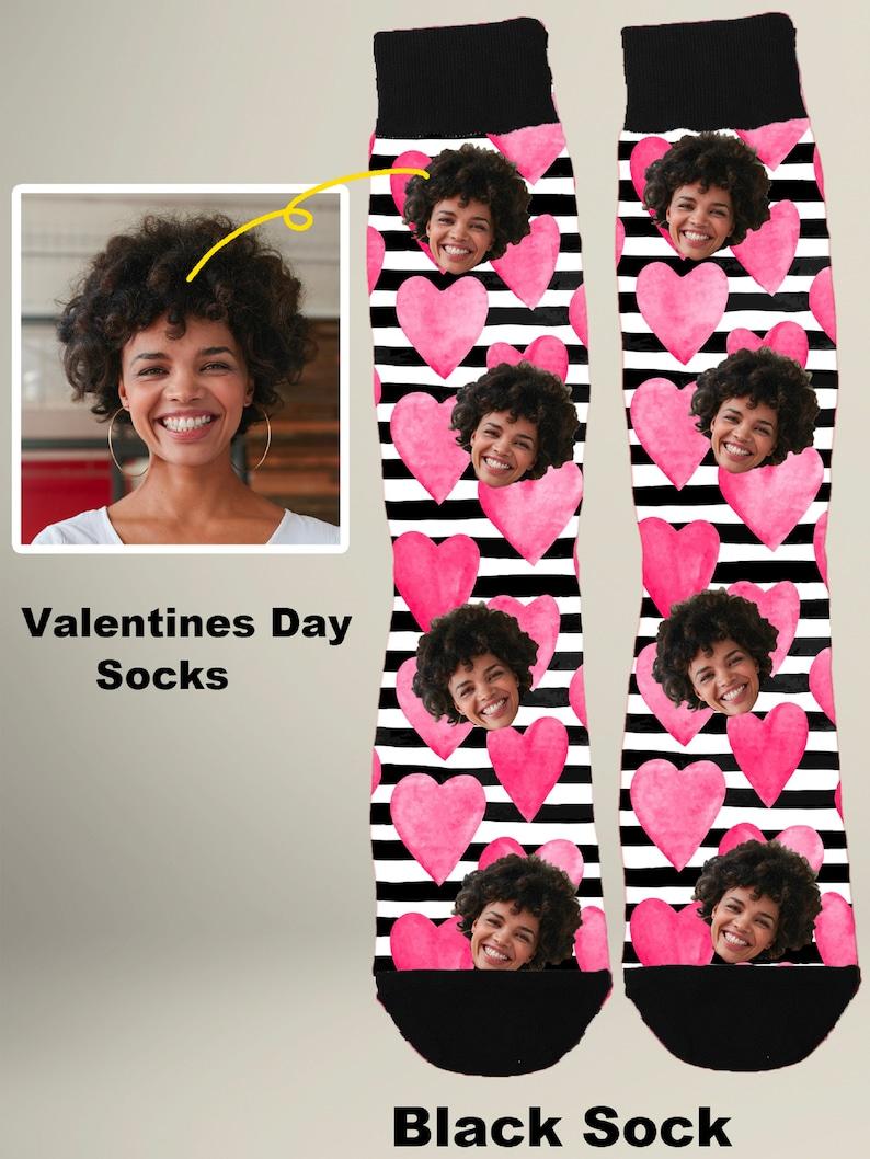 Valentine Socks Personalized Calf socks XOXO Stripes Sweetheart Personal Photo Socks Kisses and Hugs Socks BFF