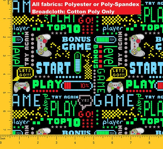 Start PLAY GAME Controller Geometric Video Console Printed Polyester /& Poly-Spandex By the Yard