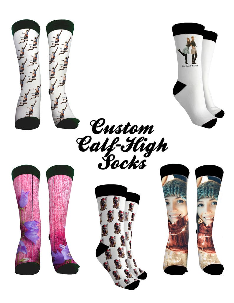 b7546f0dbe3b Custom Printed Calf High Contrast Socks Photo Printing