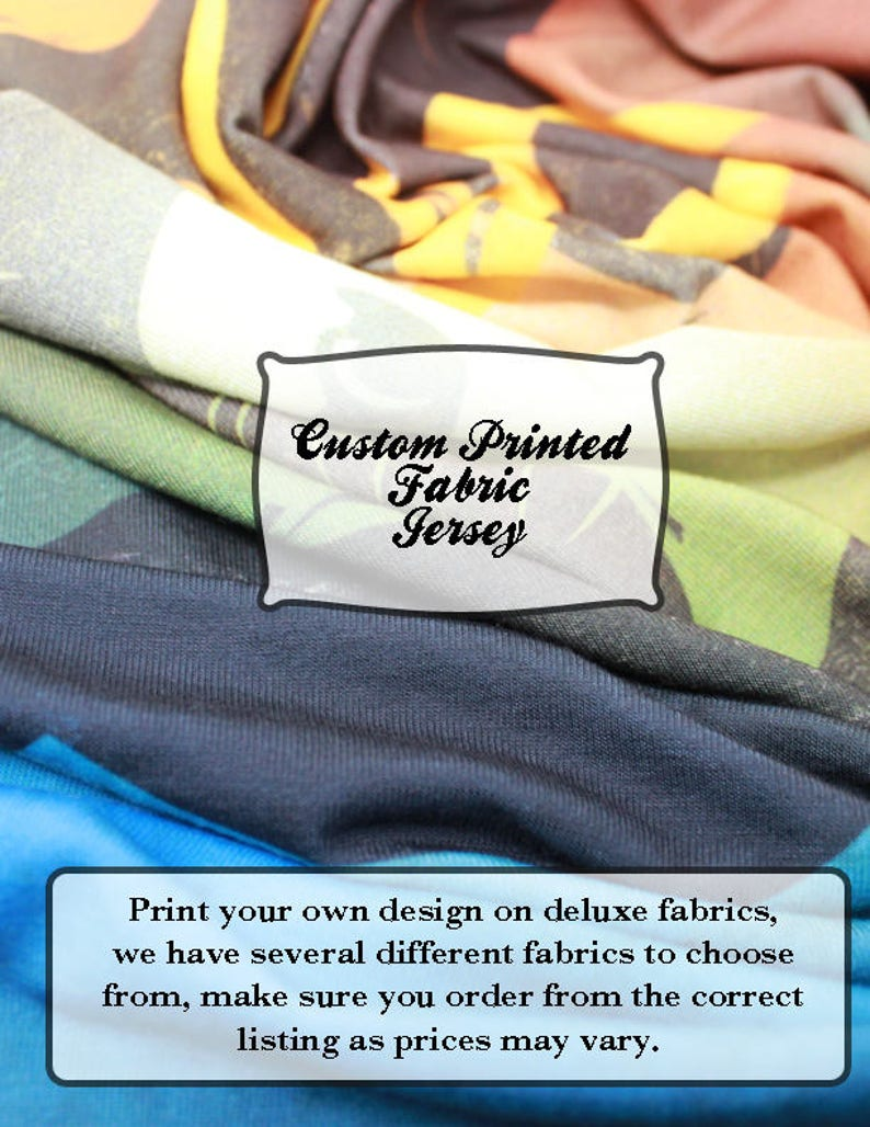 Custom Printed Fabric Jersey Print Your Own Design Fabric Etsy