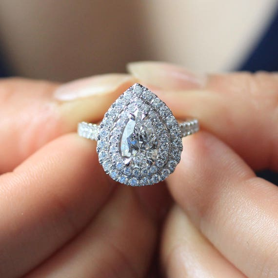 3 Carat Pear Shaped Diamond Engagement Ring Teardrop Pear Cut
