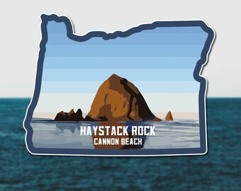 Haystack Rock Oregon State Vinyl Sticker/Decal