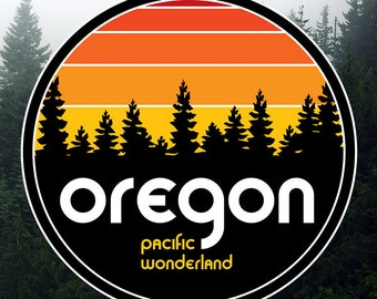 Oregon Pacific Wonderland Round Vinyl Sticker/Decal (Sunset)