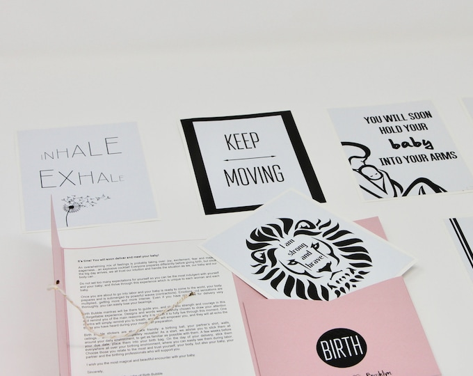 Featured listing image: Beautiful pack of 12 motivational mantras affirmation stickers to empower pregnant women to give birth during labor and delivery