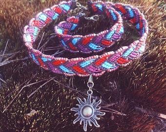 Macrame set jewelry / Macrame Necklace / Macrame Choker /Macrame bracelet / Boho choker / Bohemian / Modern macrame / Сhoker pendant