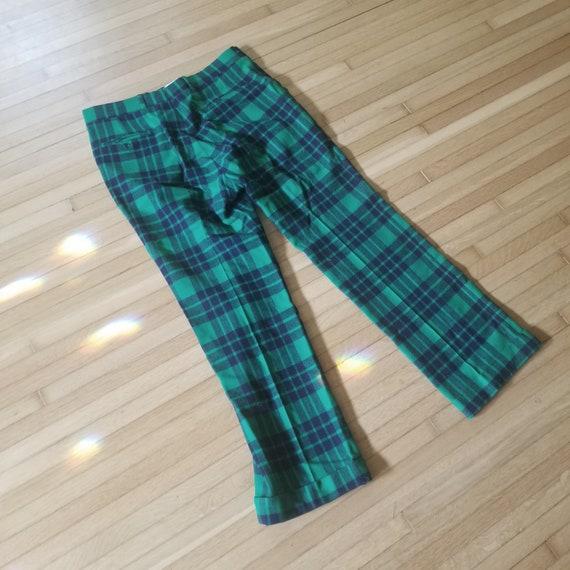 Vintage Green Plaid Tartan Wool Pants / Men's 34 … - image 9