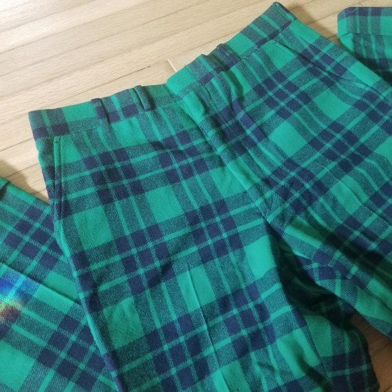 Vintage Green Plaid Tartan Wool Pants / Men's 34 … - image 2