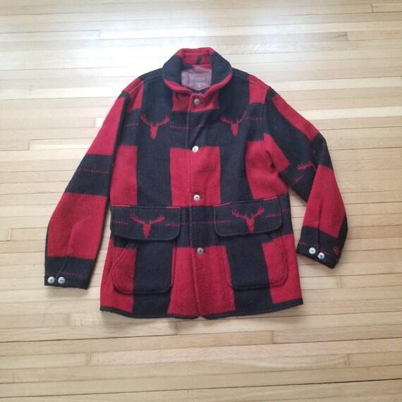 Vintage Wool Woolrich Moose Jacket / Large / 1970'