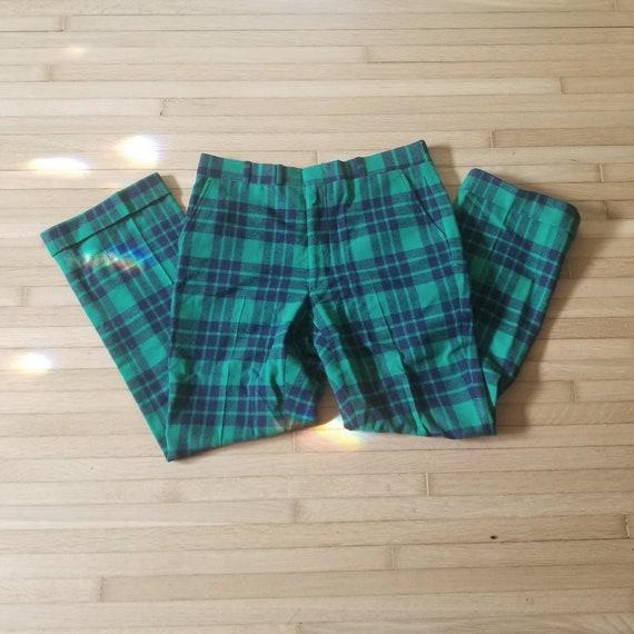 Vintage Green Plaid Tartan Wool Pants / Men's 34 … - image 1