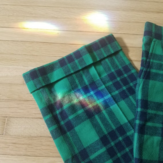 Vintage Green Plaid Tartan Wool Pants / Men's 34 … - image 3