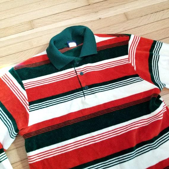 Vintage 1970's Mod Velour Polo Sweater / S to M /