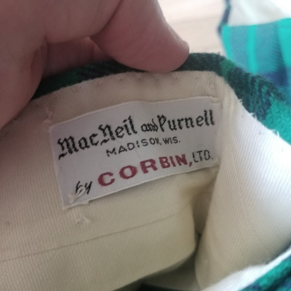 Vintage Green Plaid Tartan Wool Pants / Men's 34 … - image 8
