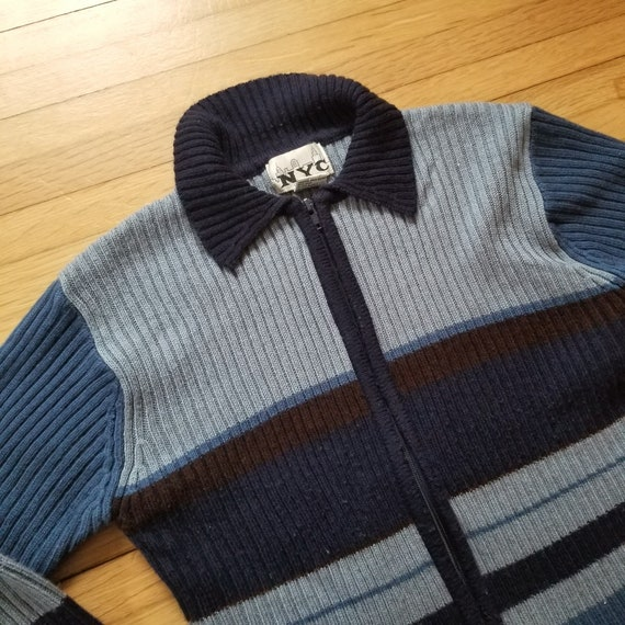Vintage 1990's Zip-up Cardigan Sweater / M Acrylic
