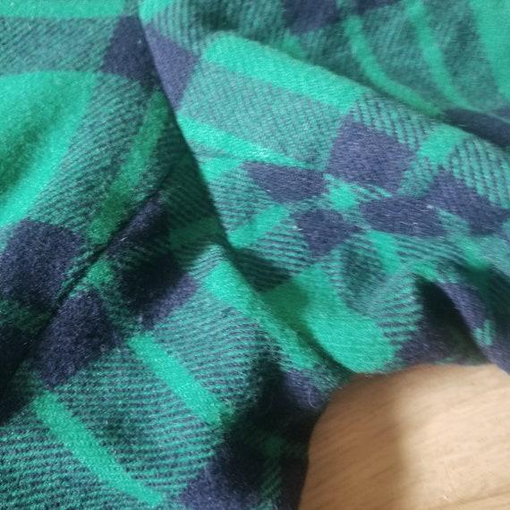 Vintage Green Plaid Tartan Wool Pants / Men's 34 … - image 5