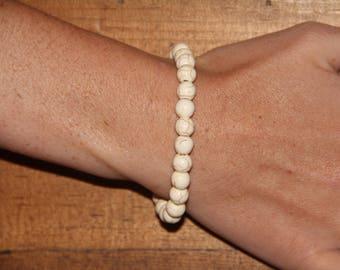 Cream Marble Beaded Bracelet