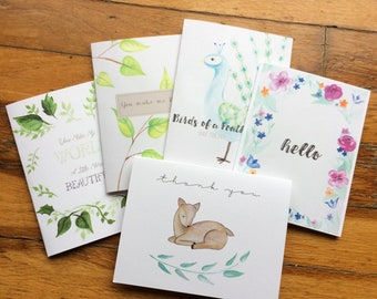 Set of 5 Friendly Blank Greeting Cards
