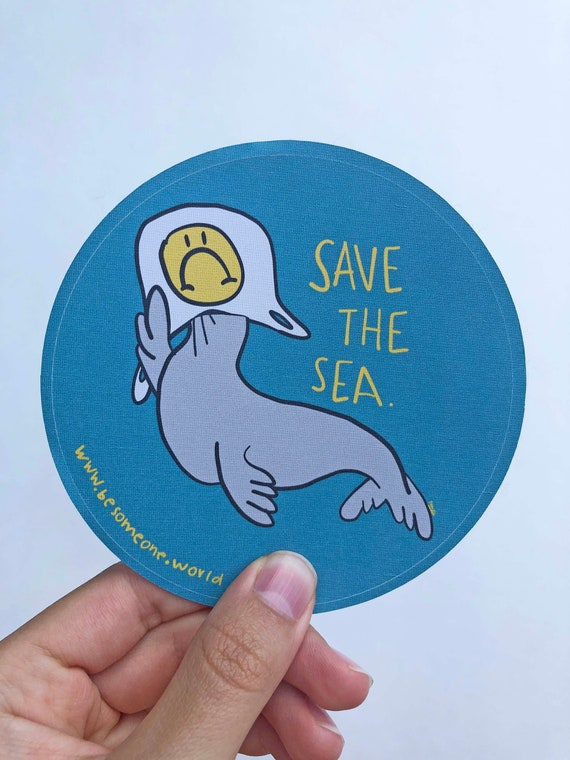 Sea Lion Sticker Car Laptop Vinyl Decal Sticker, Eco Art, Gift, Small Gift, Ocean Pollution, Cute Ocean creatures, seal, save the sea
