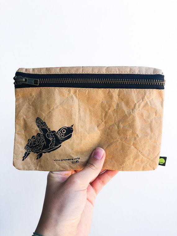 Turtle Pencil Pouch, Eco Friendly Pouch, paper pouch, turtle pencil case, pencil pouch, cute pencil case, pencil case kids, save the sea