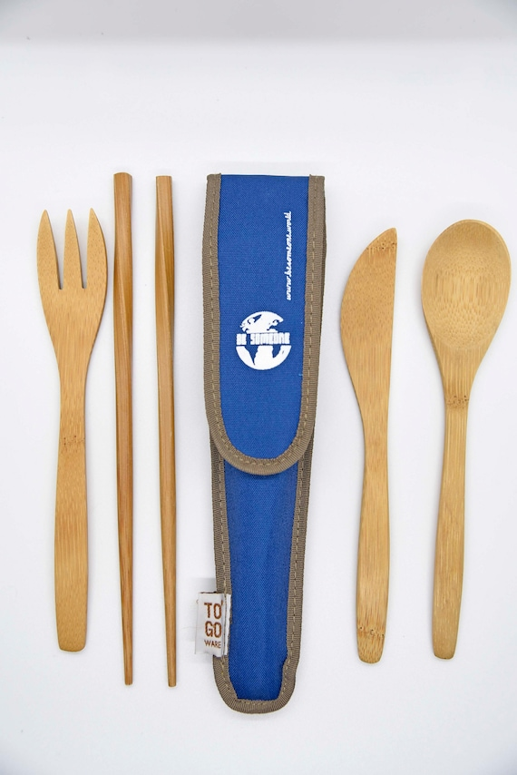 Zero Waste Plastic Free Reusable Bamboo Cutlery Set Fork, Spoon, Knife, Chopsticks, Travel Cutlery Set, BAMBOO UTENSIL SET Zero waste, gift