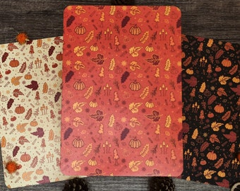 Fall Patterned Paper   Autumnal Paper Pack of 6 sheets   160gsm Premium Matte Cream Paper   Pumpkin Spice and Autumn Leaves   Orange & Black
