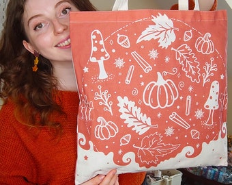 Autumn Tote Bags   Fall Totes   Pumpkin Spice and fall leaves design   Organic cotton reusable tote bag   Burnt orange reversible art bag