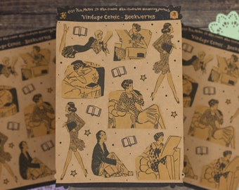 Vintage Comic Stickers - 'Bookworms'   1920s Illustrations   Ephemera Stickers for Junk Journaling & Scrapbooking   Vintage Illustrations