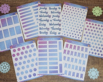 Galaxy Planner Stickers   Planner Sticker Kit   Planner Dots   Half Boxes   Quarter Boxes   Planner Flags   Days of the Week   Washi