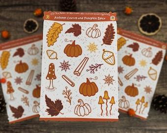 Autumn Sticker Sheet   Fall Stickers   Pumpkin Spice & Autumn Leaves   Pumpkins, cinnamon, mushrooms   Illustrated Halloween cute stickers