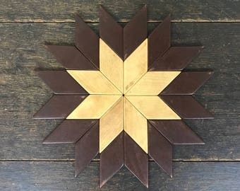 "Mid Century Multi-Color Geometric Wood Mat / Trivet Stamped ""Made In Western Germany"""