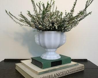 Vintage E. O. Brody Co Milk Glass Faceted Vase / Planter With Pedestal Base
