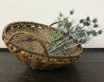 Vintage Woven Two-Tone Basket with Handles