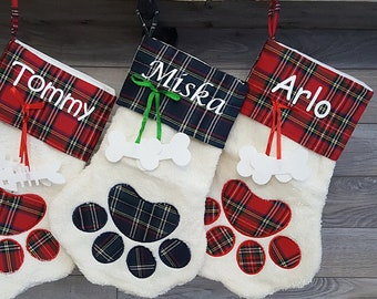 Dog Stocking Personalized for Christmas, Custom Dog Stocking, Christmas Stocking for Dog, Plaid Christmas Stocking for Pets, Dog Owner Gift