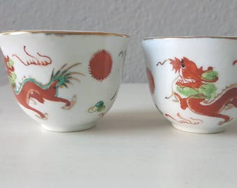 Vintage Red Dragon Sake Cups, Hand-painted Set of Two