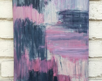 Rest // 12x16 painting // acrylic painting // canvas painting // lilac // abstract art // pink // blue // grey