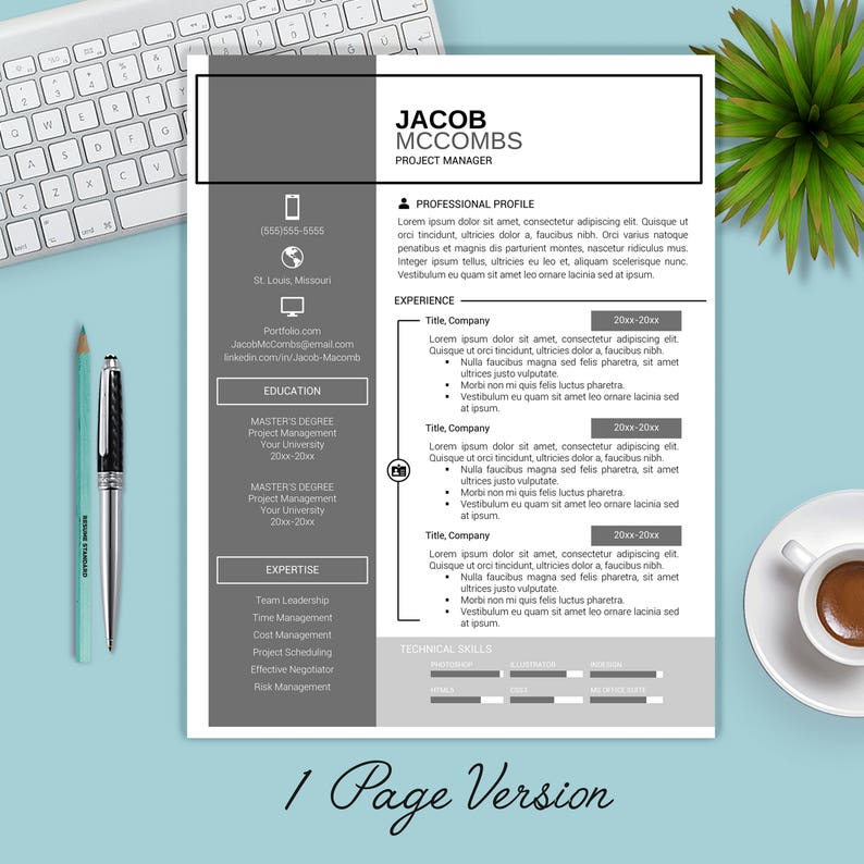 SALE Resume Template Instant Download CV Cover Letter